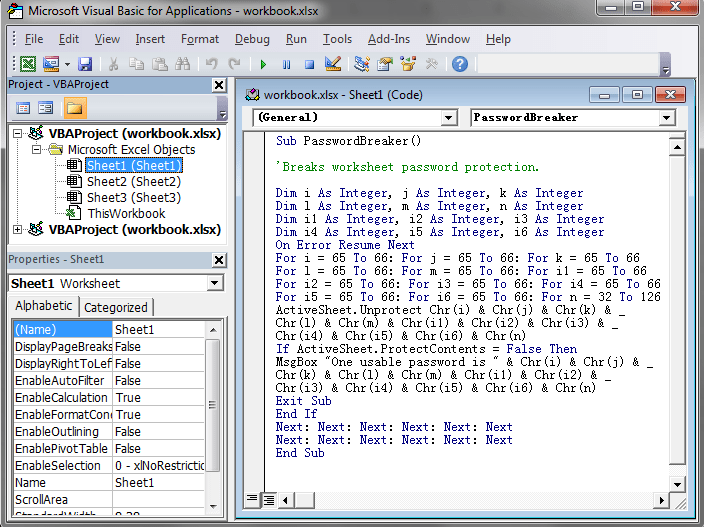 bypass excel spreadsheet password by vba code
