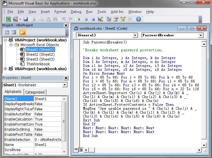 vba unlock workbook with password