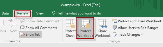 Haga clic en Proteger libro de trabajo