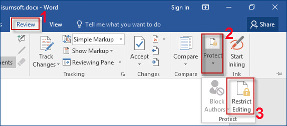 undo protect document in word