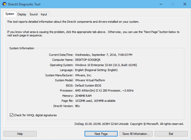 how to open directx diagnostic tool windows 7