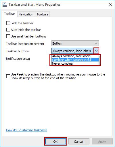 How to Group Similar Icons on Taskbar in Windows 10