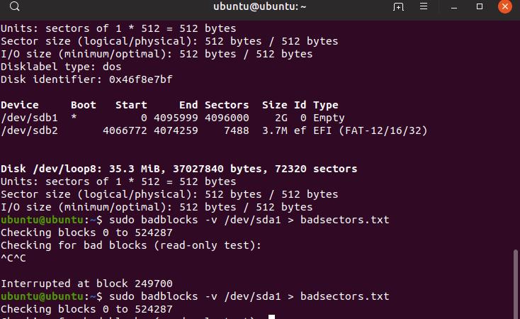 Tjek harddisk for bad blocks i Linux