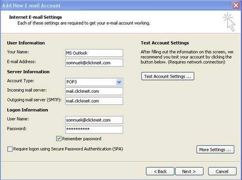 Internet E-mail Settings Microsoft Outlook 2007