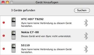 Ab Werk unterstützt das Nokia C7 kein Apple iSync