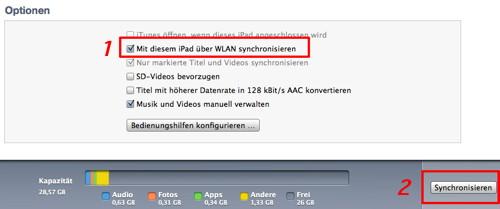 iPad und iPhone und iPod touch mit Mac oder PC drahtlos syncen