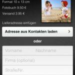 clixxie-Fotobücher lassen sich an einen oder mehrere Kontakte aus dem iPhone-Adressbuch verschicken