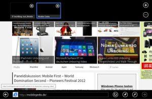 Mit der vertikalen Wischgeste öffnen sich im Internet Explorer die untere UND obere Menüleiste