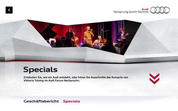 Geschäftsbericht und Specials, das sind die zwei Sektionen der Audi-App