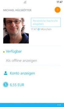 Innerhalb der Sektion Profil können Sie Ihr Bild neu einrichten und auf Ihr Online-Konto zugreifen