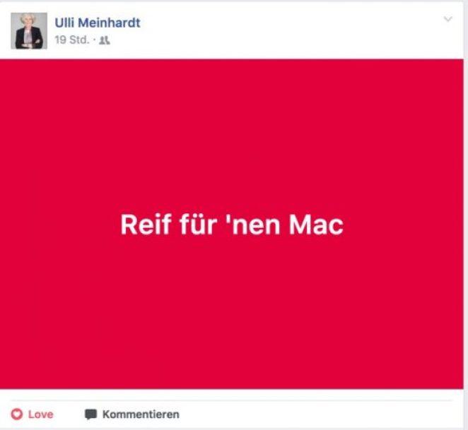 Ulli Meinhardts Facebook-Post zum Mac