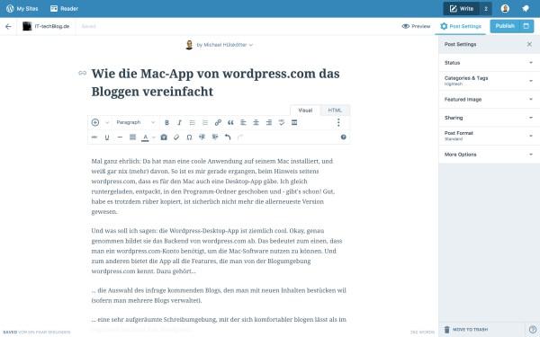 Wordpress-App in Aktion