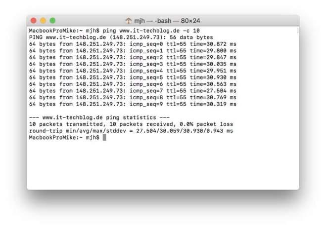 Pingzeiten des IT-techBlog via WLAN