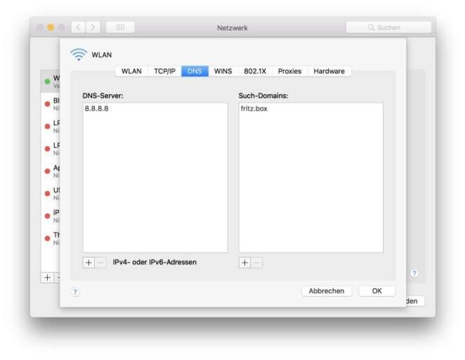 Schnelleren DNS-Server unter Mac OS in Netzwerkeinstellungen eintragen