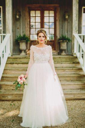 Tulle wedding dress flowers