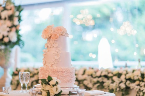 Blush wedding cake for a Beautiful simple + elegant outdoor wedding under the Chateau in the garden | itakeyou.co.uk - garden wedding ,outdoor wedding ,blush wedding