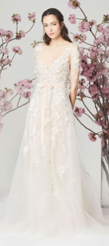 spring wedding gown, a line wedding dress, v neck wedding dress