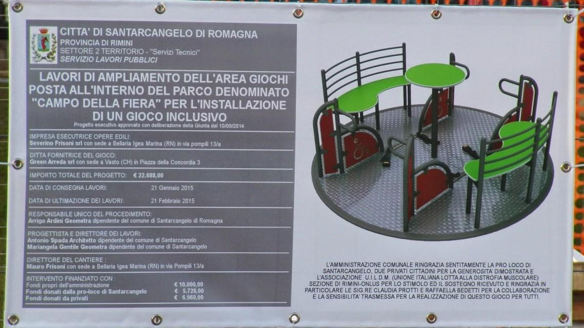 """Santarcangelo (Rn): 28 febbraio inaugurazione di un nuovo gioco inclusivo al Parco """"Campo della Fiera"""""""