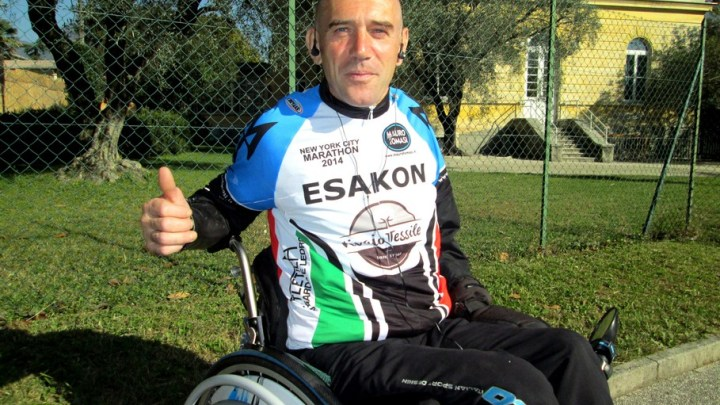 """Mauro Tommasi in sedia a rotelle alla """"100 Km del Passatore"""""""