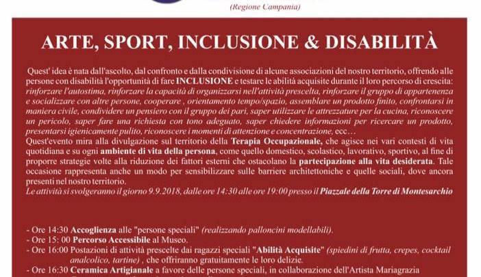 """""""ARTE, SPORT, INCLUSIONE E DISABILITÀ"""" –  9 Settembre a Montesarchio (Bn)"""