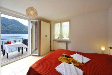 Slaapkamer met twee 2-persoonsbedden en balkon met uitzicht op het meer