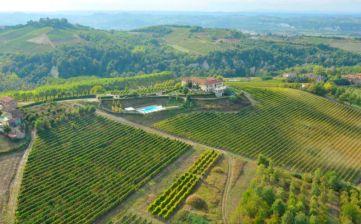 De agriturismo is omringd door wijngaarden en heuvels
