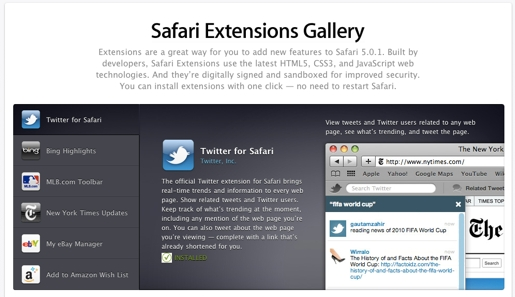 safari extensions Safari Extensions Gallery, personalizzare il browser di Apple