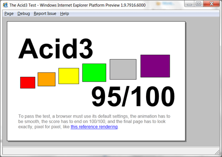 IE9 PP4 001 Microsoft ha rilasciato la nuova versione Platform Preview 4 di IE9 su Acid3 ha registrato 95/100