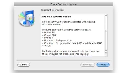 ios4 0 2 Apple corregge il bug del PDF Reader con iOS 4.0.2