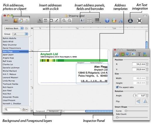 features screenshot Labels & Addresses, creare etichette e buste personalizzate su Mac