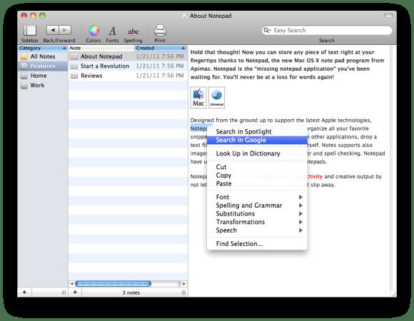 12 580x450 Notepad: il software più semplice per creare e organizzare le tue note con Mac