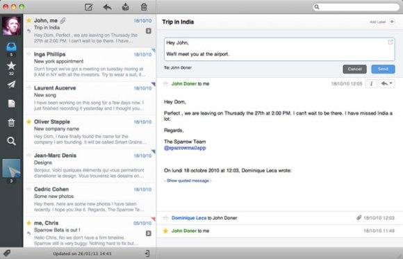 Sparrow2 580x373 Sparrow aggiunge la compatibilità con Mac OS X Lion