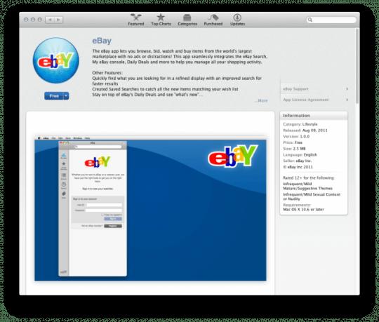 eBay in Mac App Store e1313007468770 540x459 Disponibile lapplicazione ufficiale di Ebay per Mac