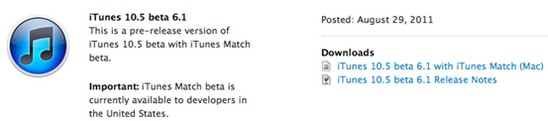 itunes 105 b61 iTunes 10.5 beta 6.1 è disponibile per gli sviluppatori