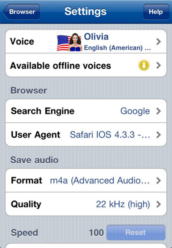 2 Recensione di Voice Reader Web per iPhone e iPad