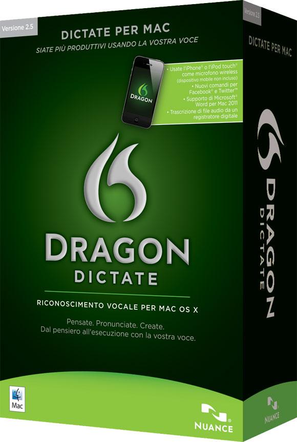 DRAGON DICTATE 2 Nuance Dragon Dictate, la versione 2.5 dell'applicazione di riconoscimento vocale parla in italiano anche su Mac