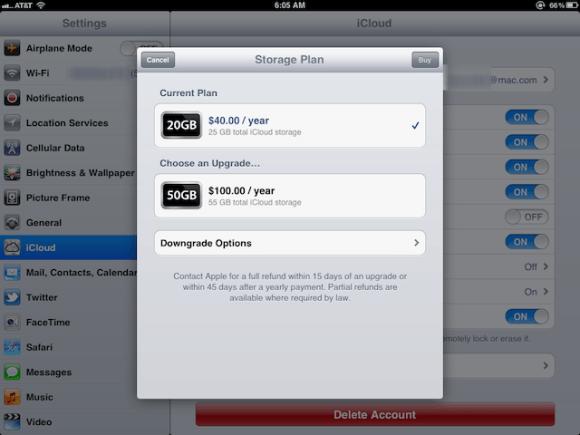 icloudplans 580x435 Apple regala a tutti gli abbonati a MobileMe 20 GB di spazio su iCloud
