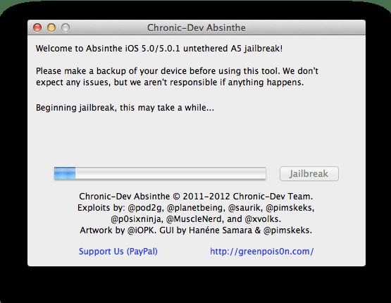 Absinthe Jailbreak iphone4s ipad2 thumb Guida: jailbreak iPhone 4 e iPad 2 iOS 5.0.1 con Absinthe per Mac OS X e Windows
