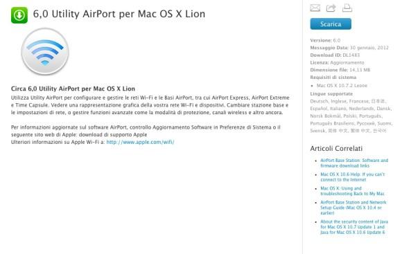 Schermata 01 2455958 alle 12.07.43 580x367 Apple rilascia una nuova versione di Utility Airport 6 per mac OS X Lion e un nuovo firmware per AirPort Base e Time Capsule
