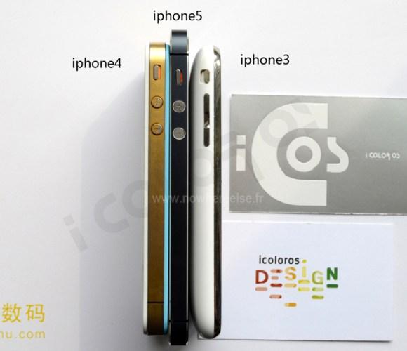 Nouvel iPhone 5 006 580x500 Nuovo iPhone 5 (presunto) a confronto con iPhone 4 e iPhone 3