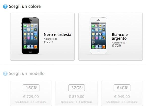 modelliiphone5 580x430 iPhone 5 disponibile anche online sullo store di Apple