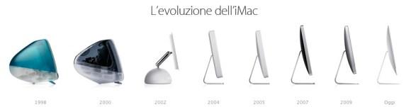 evoluzione iMac 580x151 Oggi si è alzato il sipario anche sul nuovissimo iMac, un desktop da 5 millimetri