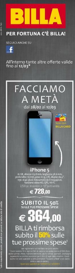 billaiphone5 Da Billa liPhone 5 col 50% del prezzo rimborsato con buoni spesa