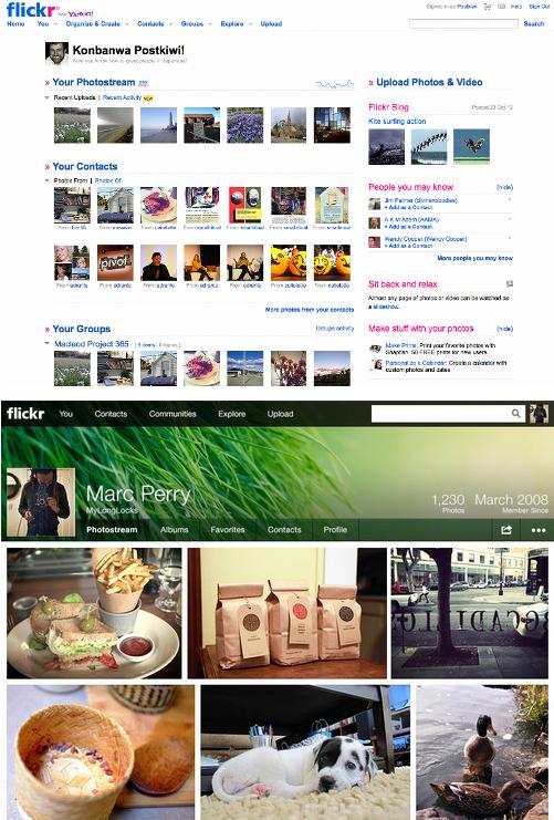 Flickr Prima e Dopo il Restyling grafico