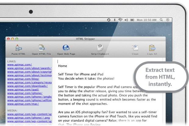 HTML Stripper Main WD2 620x413 Uscita la versione gratuita di Strip HTML per Mac, per estrarre testi dal codice HTML