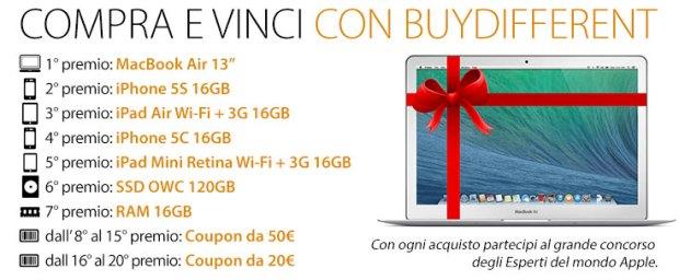 BANNER CONCORSO 2 620x256 Grande concorso per i 10 anni di BuyDifferent: in palio MacBook Air, iPhone 5S, iPad Air e molti altri premi