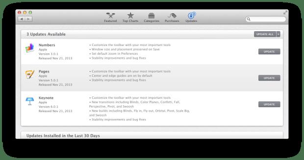 Update Mac app 620x327 Apple aggiorna iMovie, il firmware degli AirPort e le app di iWork