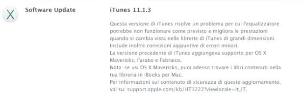 iTunes 11.1.3 Changelog 620x199 Rilasciato iTunes 11.1.3 per Mac e Windows