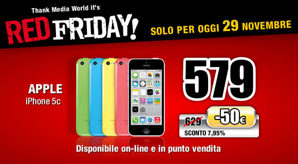 red friday Black Friday: iPhone 5C e iPad Mini in offerta da Mediaworld, anche online!