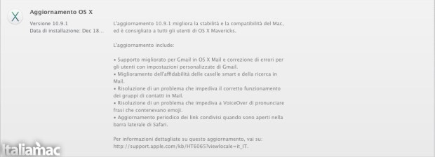 10.9.1 Update 620x224 OS X 10.9.1 disponibile su App Store
